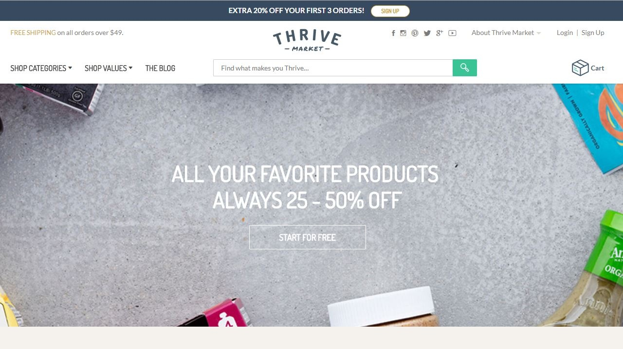 Thrive Market homepage